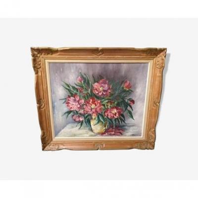 Tableau Bouquet De Fleurs Signé Babon Folus
