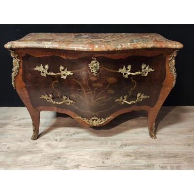 Louis XV Style Commode Marquetry