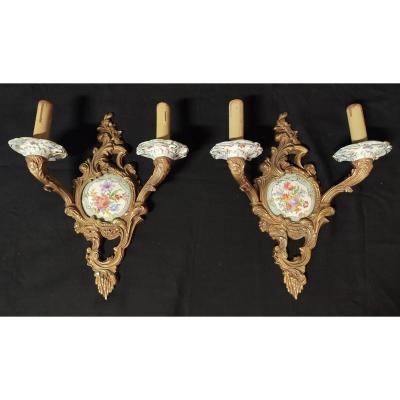 Paire d'Appliques Louis XV Bronze Et Porcelaine