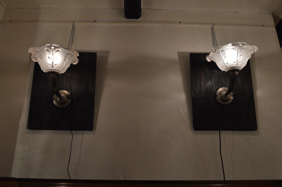 Pair Of Art Deco Bronze Lamps Silver