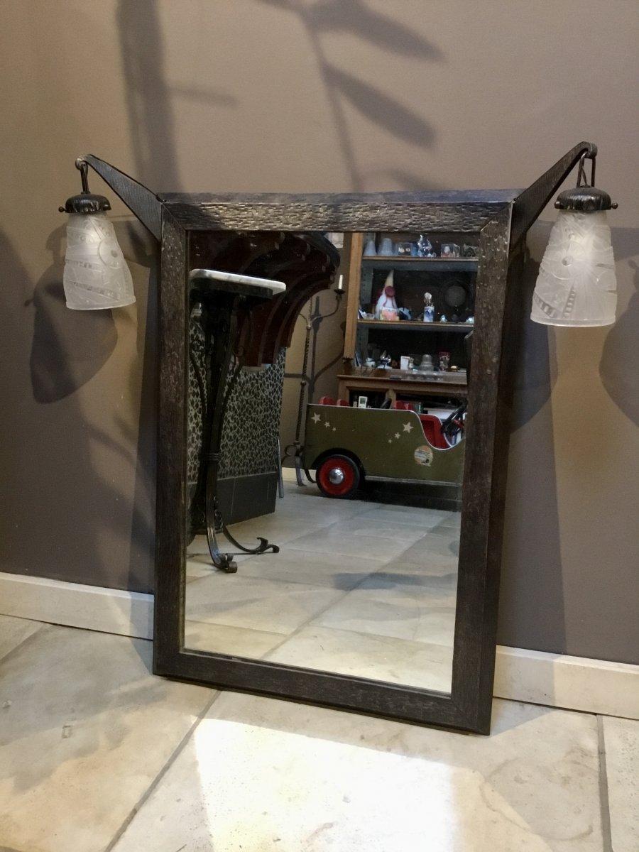 Miroir Art Déco En Fer Forgé Avec Appliques Incorporées