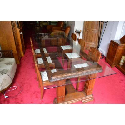 Table Glass Art Deco Walnut And Mahogany