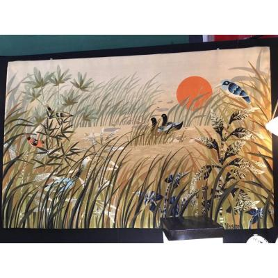 Wool Tapestry .gand Model.signature R Husson.created Around 1960
