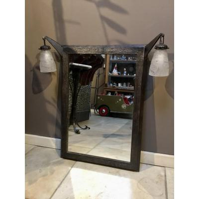 Art Deco Wrought Iron Mirror With Incorporated Sconces