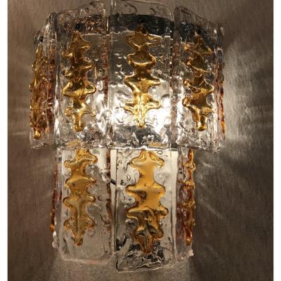 Paire D'appliques En Verre De Murano. Designer Tony Zuccheri  , Années 1960