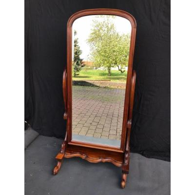 Nineteenth Century Psyche Mirror In Mahogany