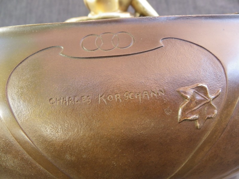 Charles Korschann Grande Jardinière Art Nouveau En Bronze