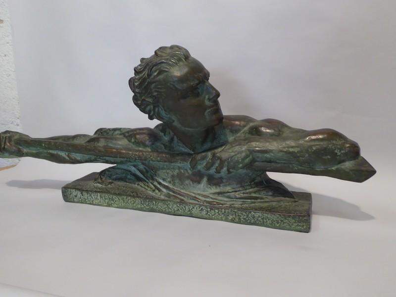 Buste Art Déco En Plâtre Patiné