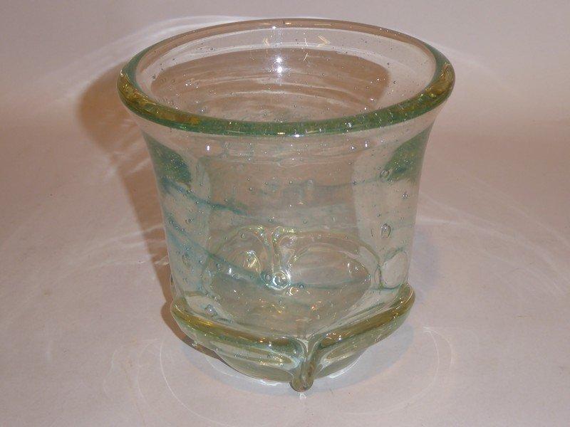 Schneider 1950 , Vase En Verre Incolore Massif Bullé