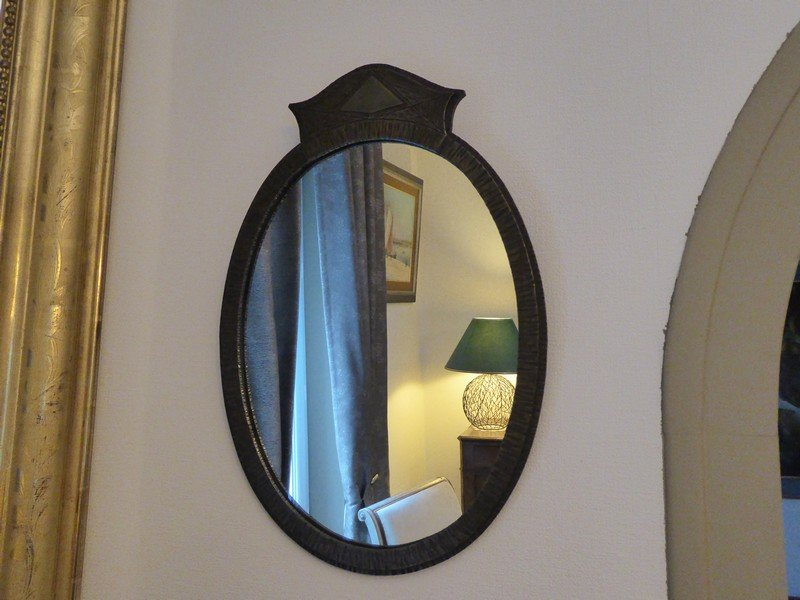 Mirror Oval Wrought Iron Hammered Art Deco