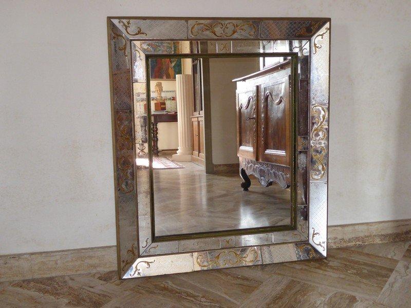 Miroir En Verre églomisé Travail Probablement Des Ateliers Charles Isora  Vers 1960