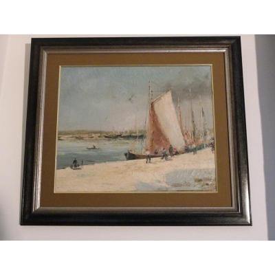 """huile sut toile de Joseph Izarie Riviere """"bateaux Au Quai"""""""