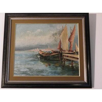 """Huile Sur Toile De  Joseph Izarie Riviere """"bateaux Au Ponton"""""""