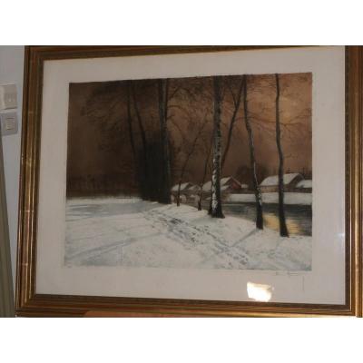 Henri Jourdain 1864 /1931 paysage d'hiver sous la neige