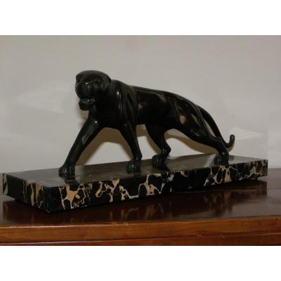 Panthère Art Déco En Bronze à Patine Brune