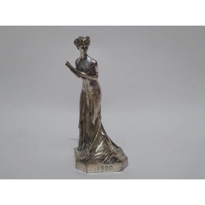 élégante à l'éventail En Bronze Argenté 1900 De Henri Varenne