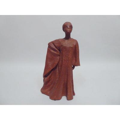 Sculpture En Terre Cuite Orientaliste ( Femme Ouoloff ) De Daveline Cogis