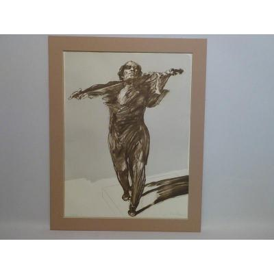 Claude Weisbuch Original Lithograph (the Violinist) 73 X 57 Cm