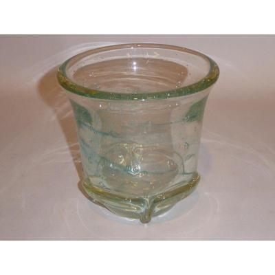 Schneider 1950, Clear Glass Vase Massif Bullé