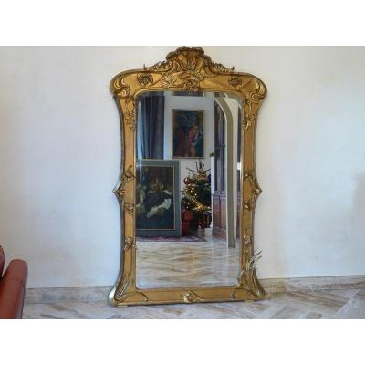 Golden Mirror In Wood And Stucco Leaf Gilding Art Nouveau Period