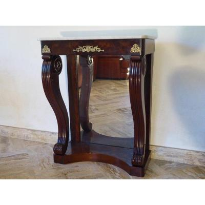 Mahogany Empire Console, Carrara Marble, Mercury Mirror