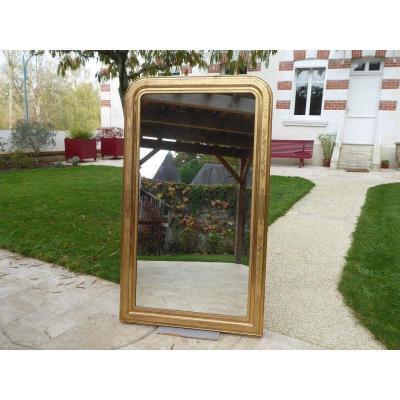 Miroir Louis Philippe En Bois Et Stuc Dorure à La Feuille d'Or Hauteur 168 Cm Large 98 Cm