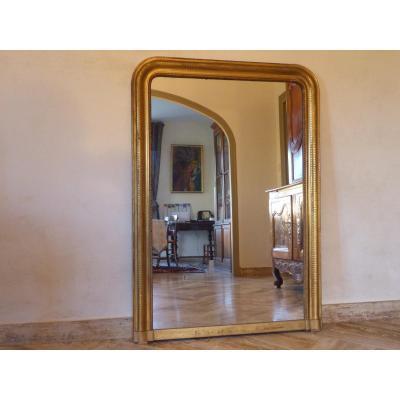 Miroir Louis Philippe En Bois Et Stuc Doré   140 X 99 Cm