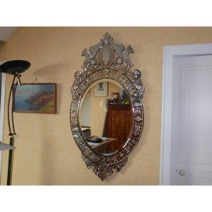 Miroir Vénitien  Exceptionnel Gravure d'Entrelacs Et Fleurs Haut 150 Cm