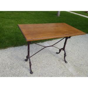 Table Bistrot Début XX° Piètement En Fonte Plateau En Bois Exotique ( Movingui )