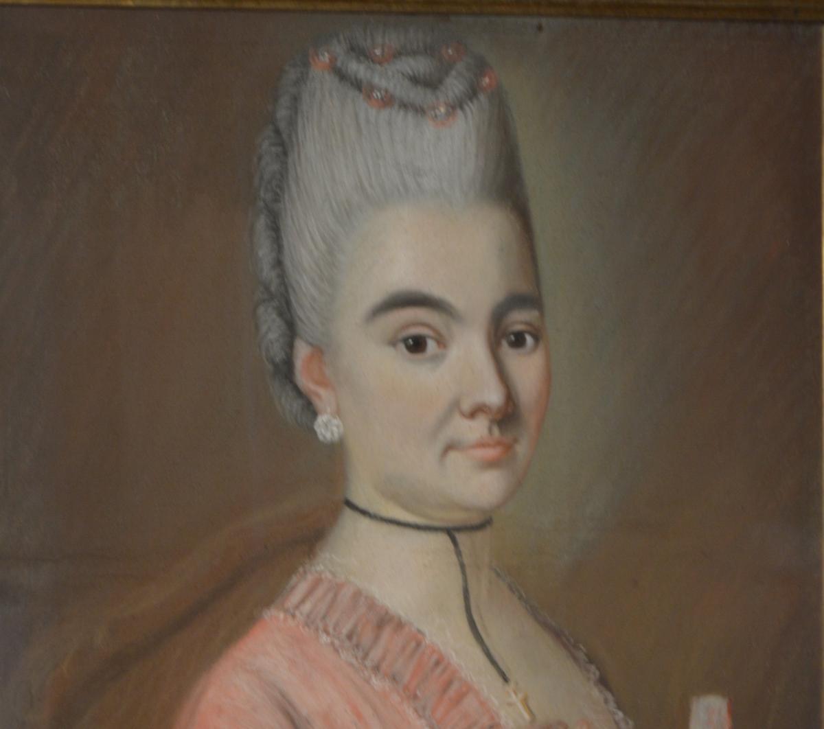 Pastel, Portrait d'Une Jeune Femme à l'éventail-photo-3
