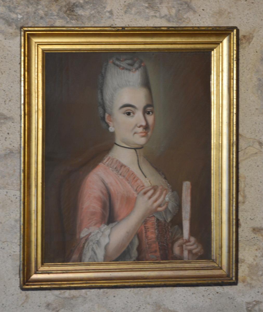 Pastel, Portrait d'Une Jeune Femme à l'éventail-photo-4
