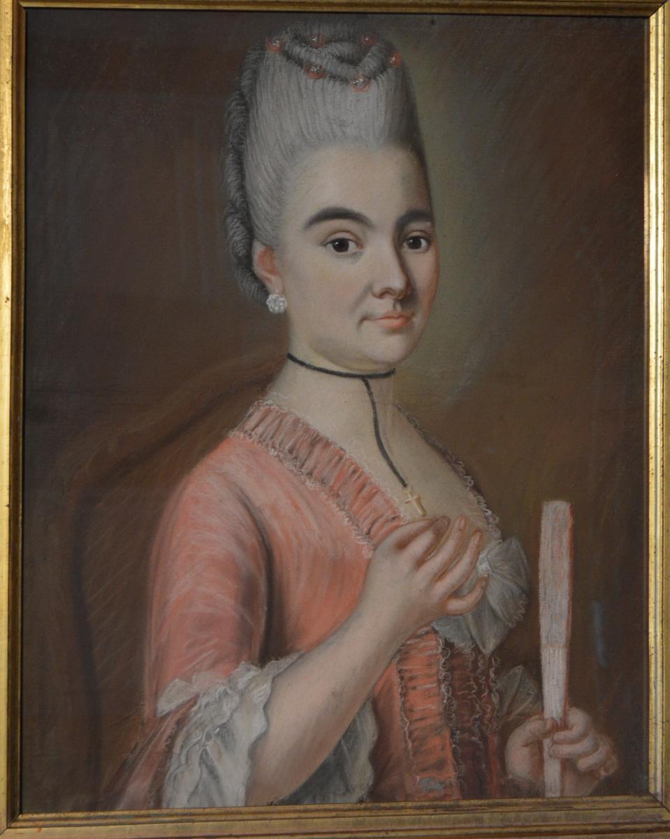 Pastel, Portrait d'Une Jeune Femme à l'éventail-photo-1