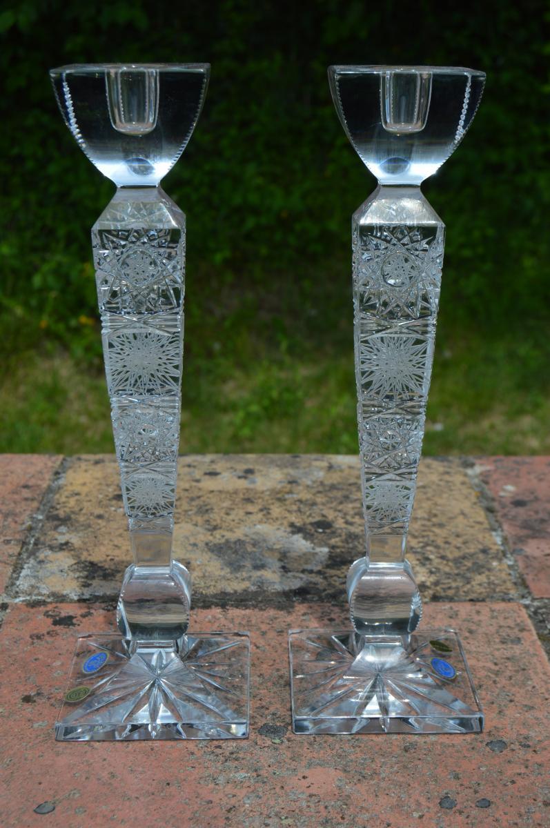 Paire De Bougeoirs En Cristal De Bohême