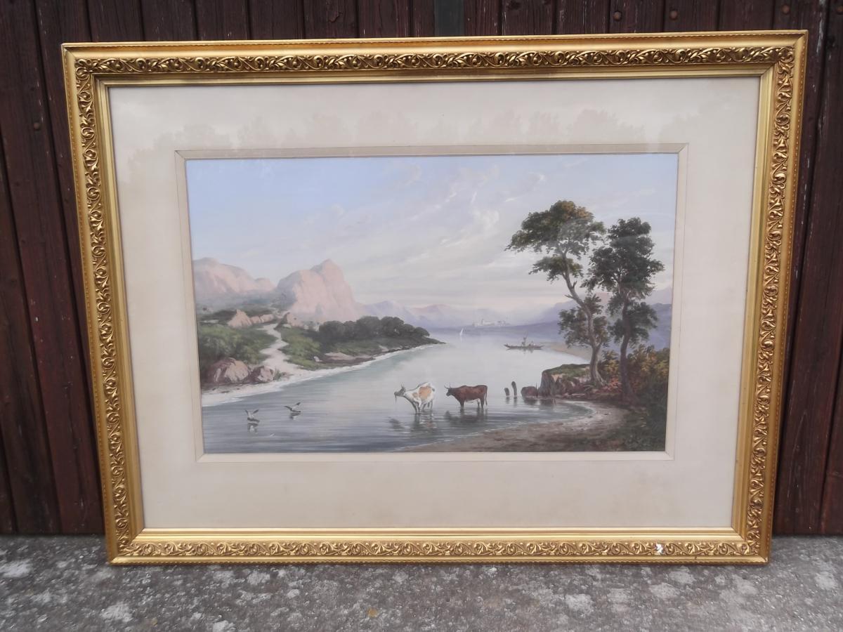 Gouache Orientaliste Signée Paul Pascal, 1871 -photo-1