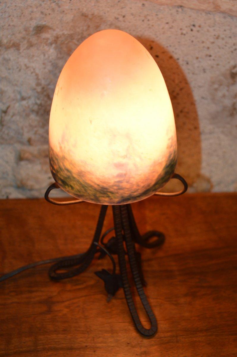 Petite Lampe ou Veilleuse Art Déco - Le Verre Français.-photo-2
