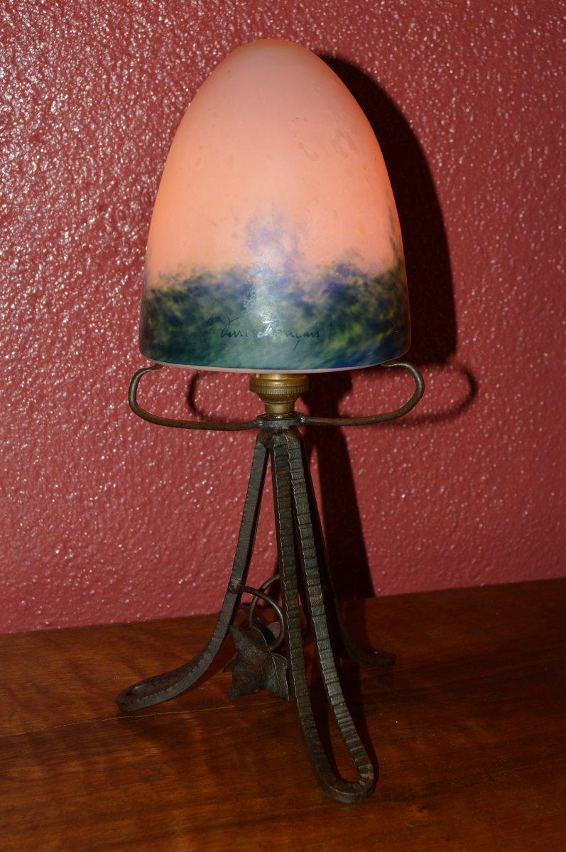 Petite Lampe ou Veilleuse Art Déco - Le Verre Français.-photo-3