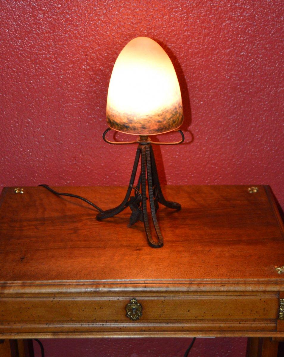 Petite Lampe ou Veilleuse Art Déco - Le Verre Français.-photo-5