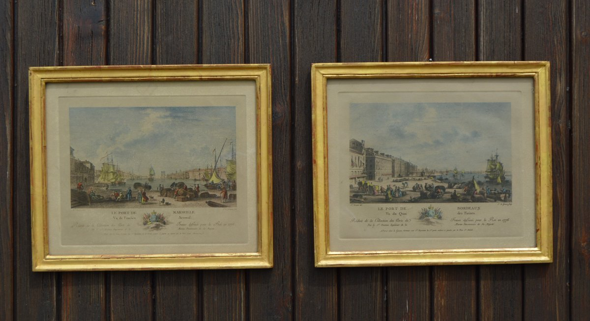Pair Of Engravings, Port Of Bordeaux And Marseille After Nicolas Ozanne