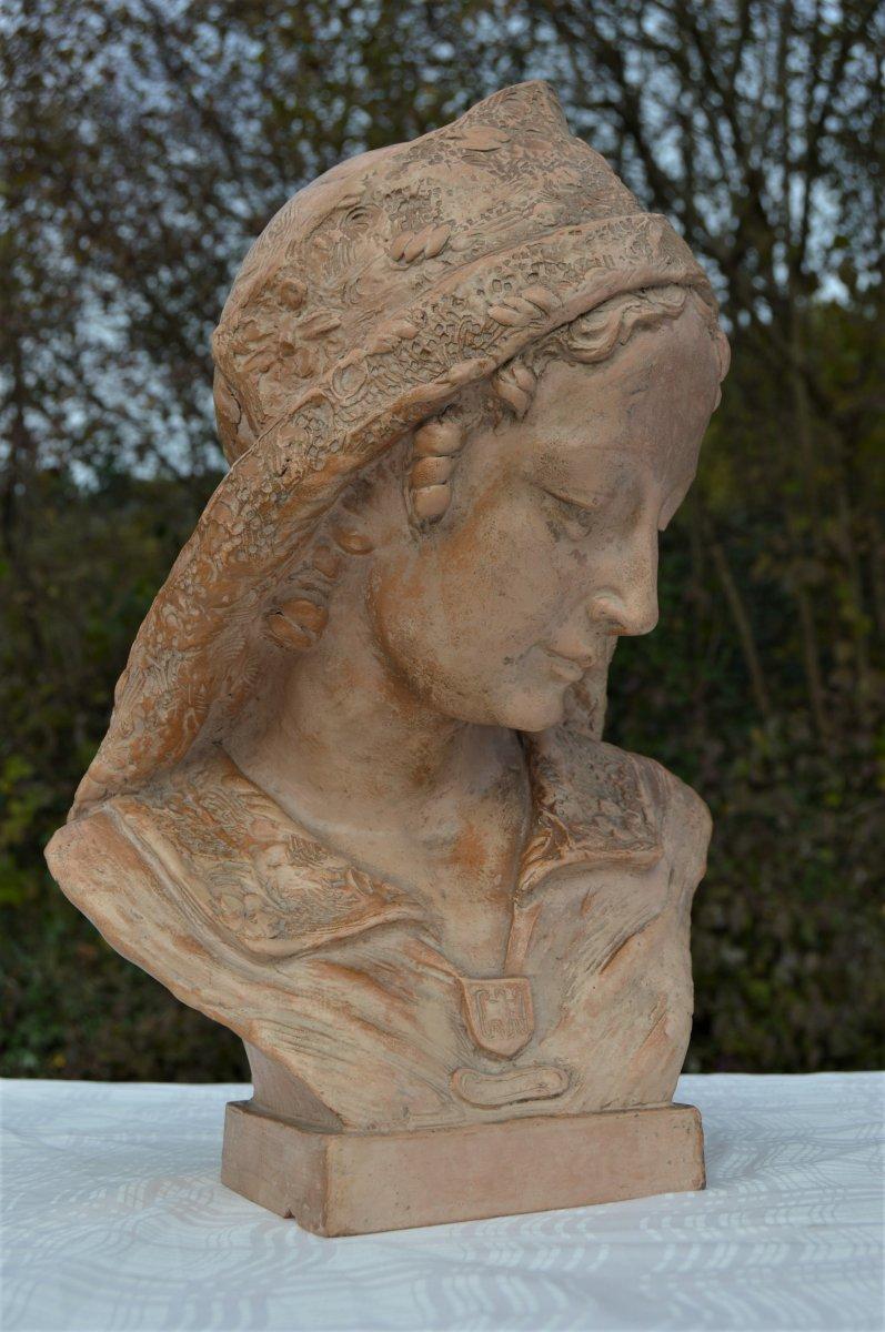 Buste En Terre Cuite Signé F.Pacheco-photo-2