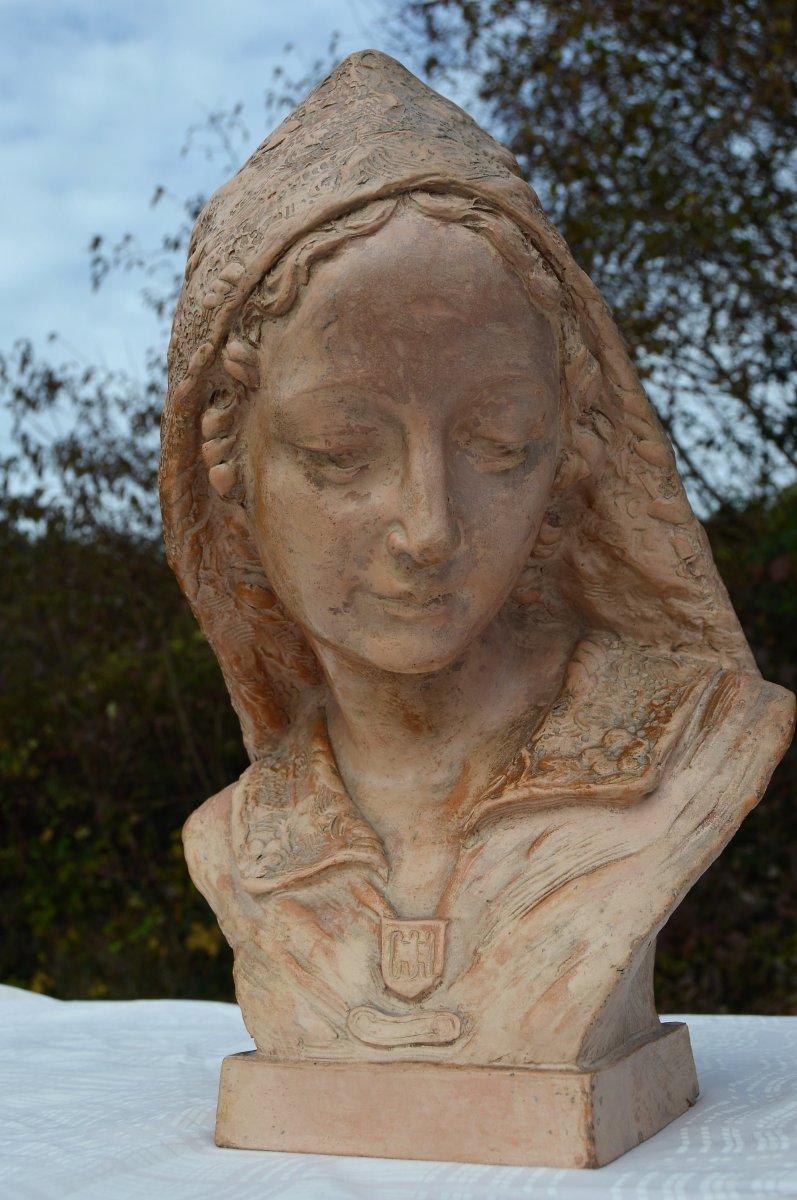 Buste En Terre Cuite Signé F.Pacheco-photo-3