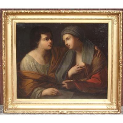 """Grand Tableau XVIIe """"allégorie De La Peinture Et Du Dessin"""""""