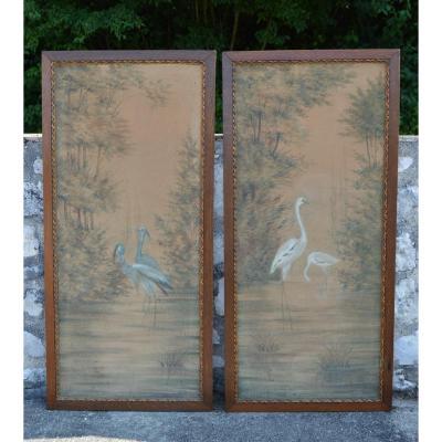 Paire De Panneaux Peints art nouveau