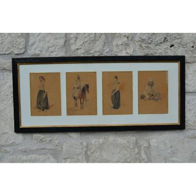 Series Of Four Orientalist Drawings