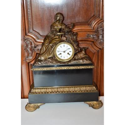 Restoration Period Pendulum, Subject In Bronze And Regulates