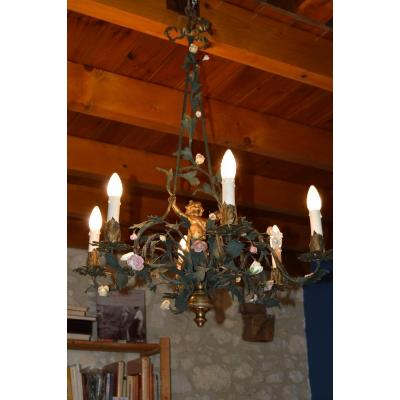 Painted Sheet Metal Chandelier And Bronze Angel