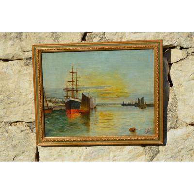 Marine, View Of A Port Signed H. Lépée