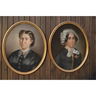Large Pair Of 19th Century Pastels