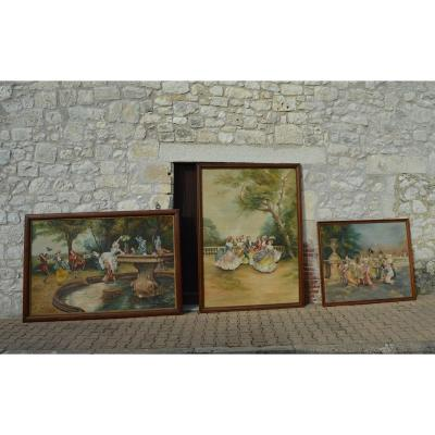 Set Of Three Large Painted Canvases