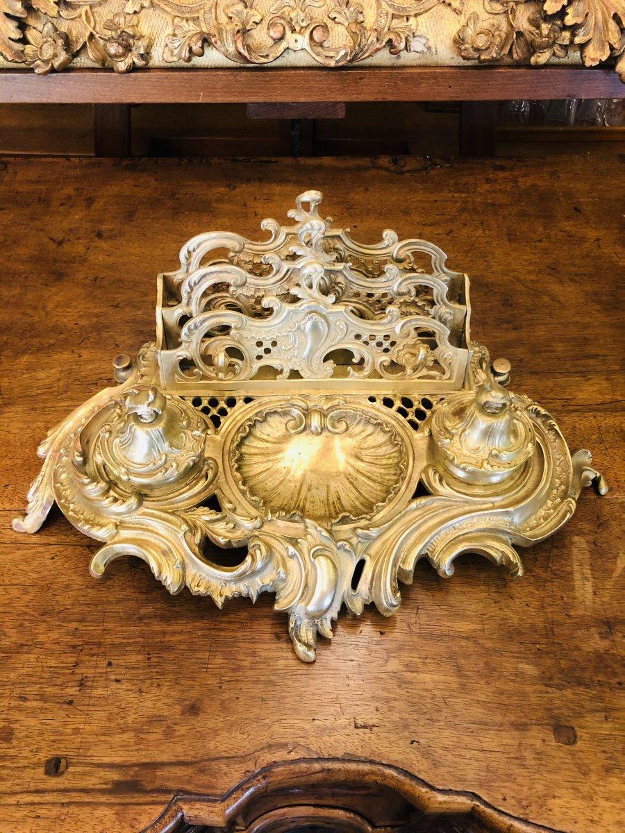 Encrier Louis XV en bronze doré