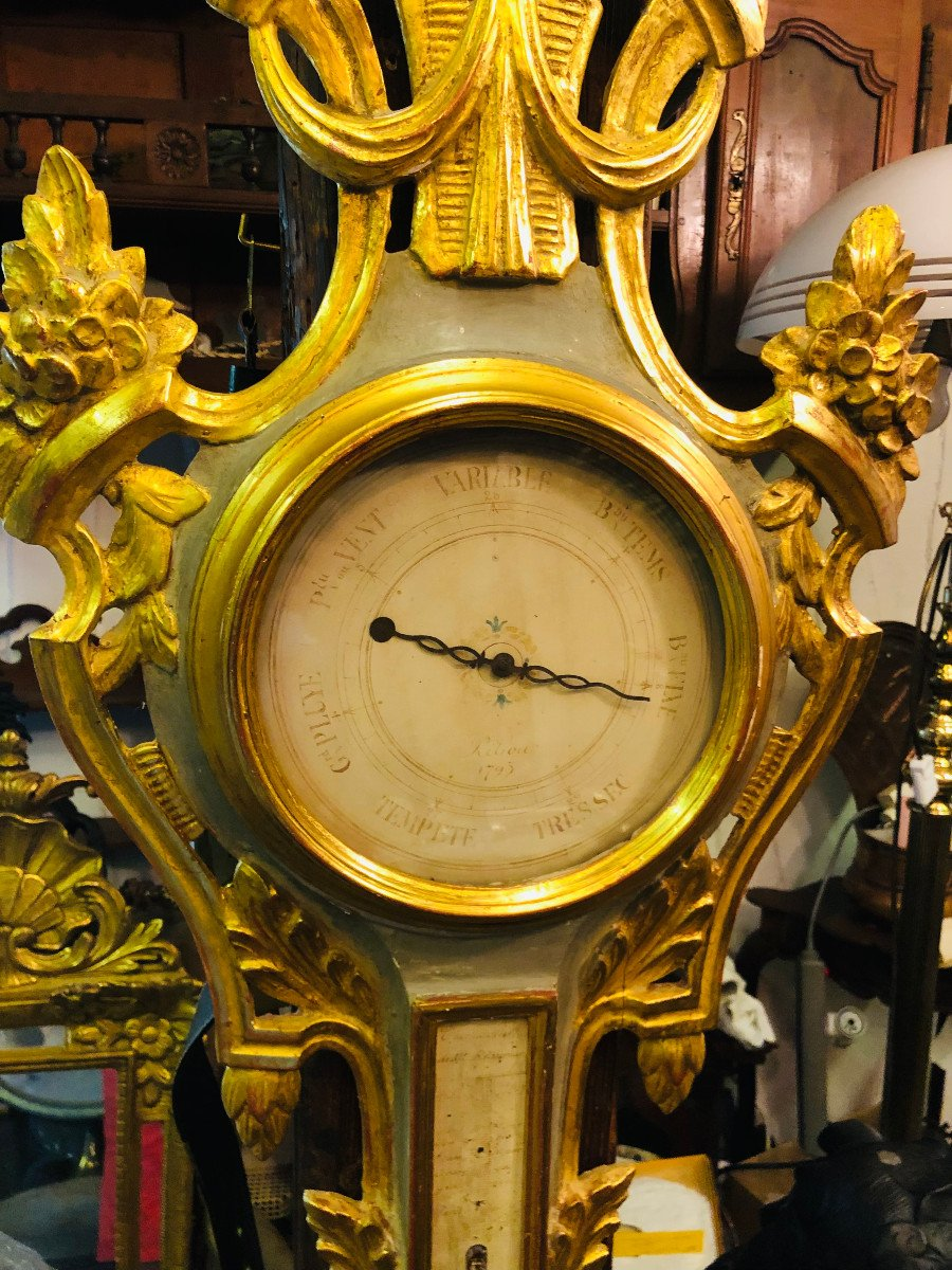 Provencal Barometer In Gilded Wood From The Louis XVI Period.-photo-3